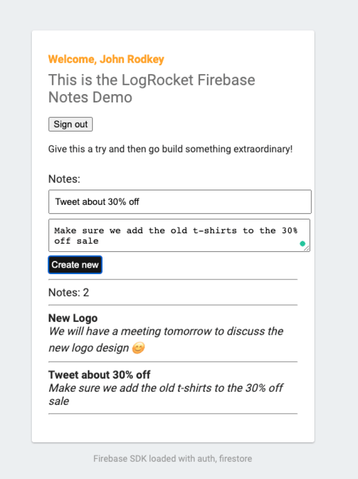 Our second note in Firebase.