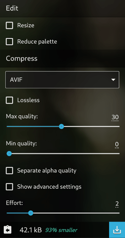 Sqooush AVIF file image compression