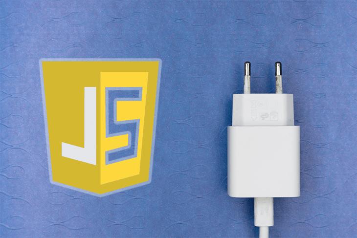 The JavaScript logo next to a plug.