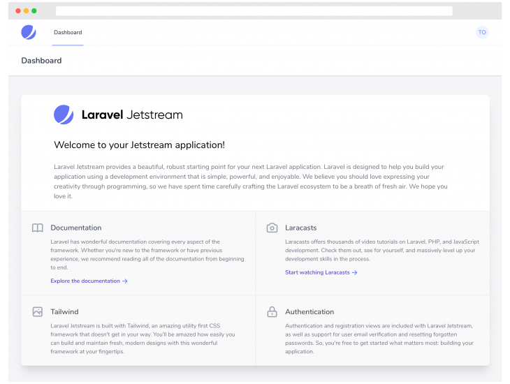 Laravel Jetstream page
