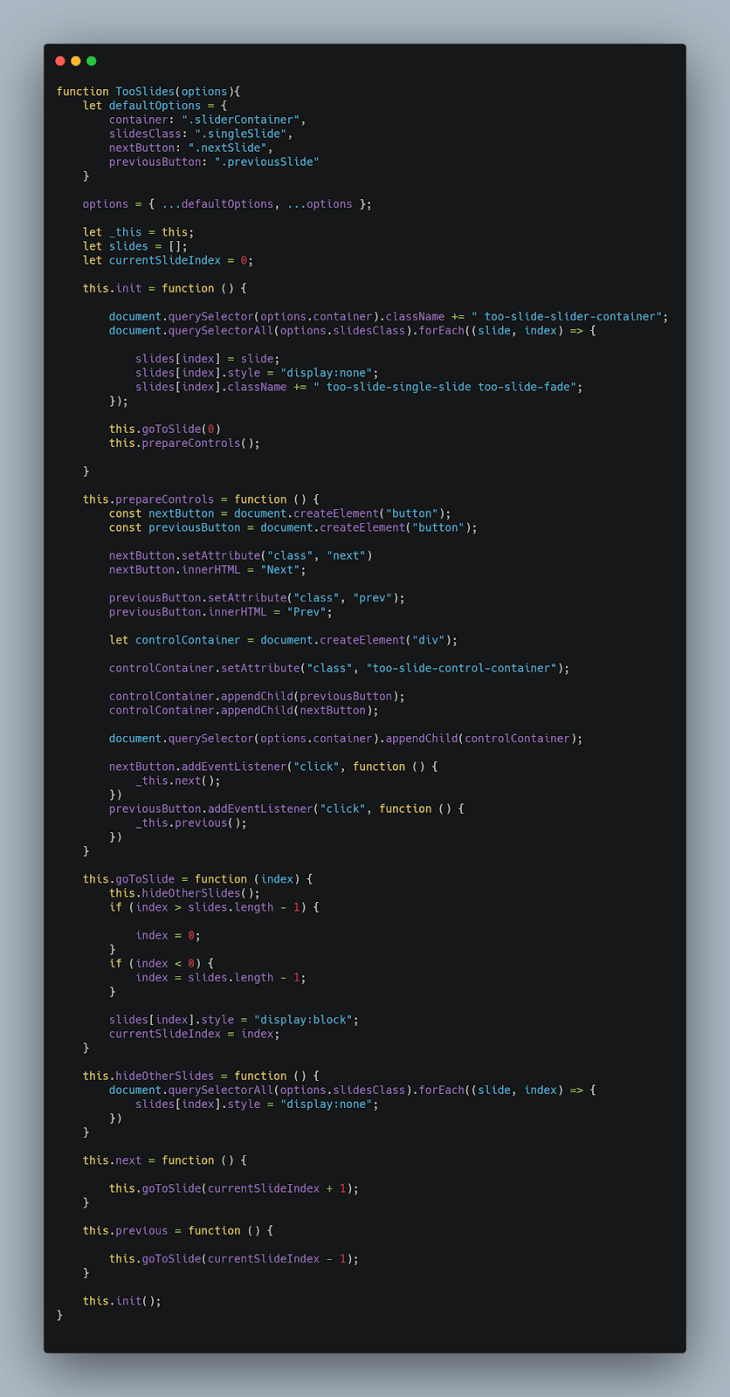 Our final code snippet.