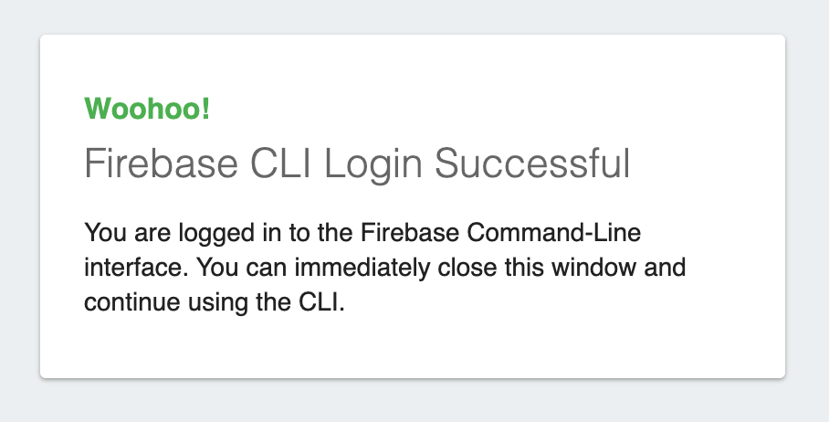 Success dialog shown when you've successfully completed login