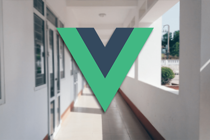 A Vue logo against a school hallway.
