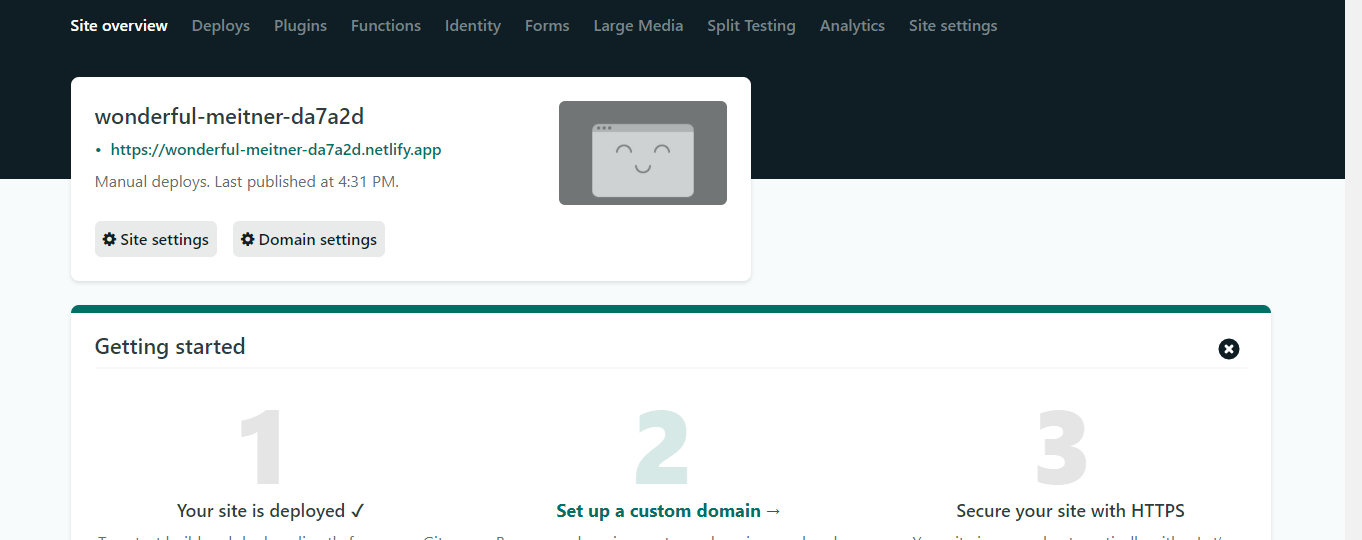 Netlify automatically assigns a subdomain