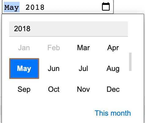 Month picker.