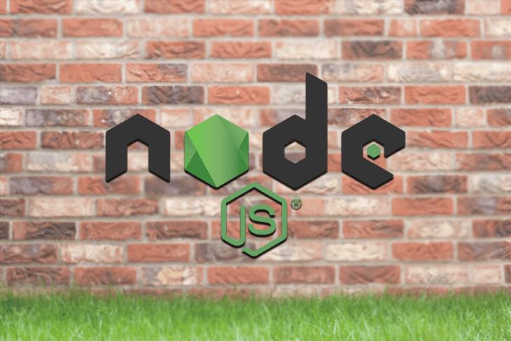 Node.js Logo on a Brick Wall