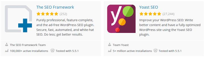 SEO Framework and Yoast SEO