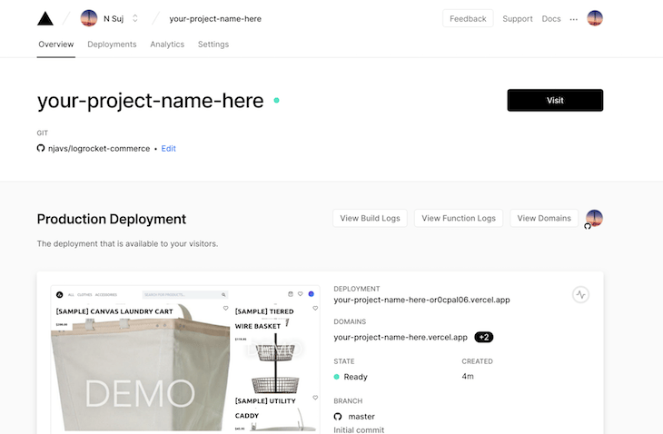 Product Deployment Page Project Overview