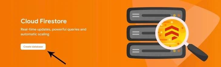 Create Database Button in Cloud Firestore