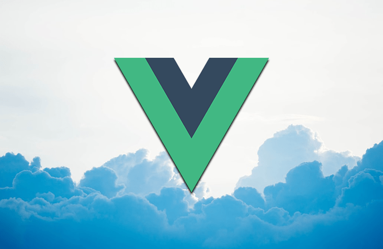 Vue logo against a background of clouds.