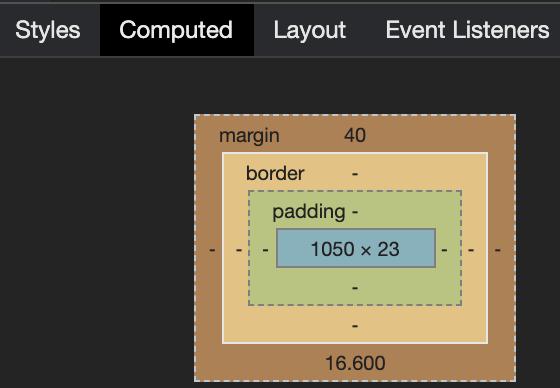 Computed Tab Rendered Margin Value Visual