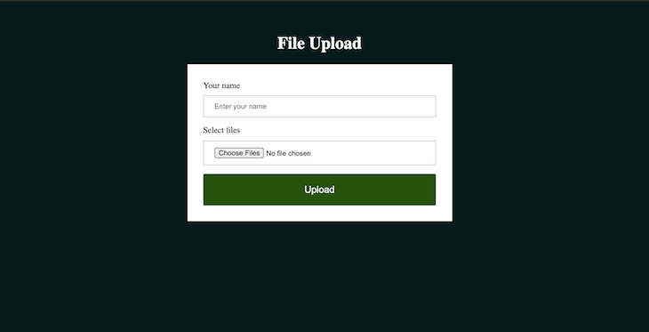 File Upload Webpage Screenshot with CSS
