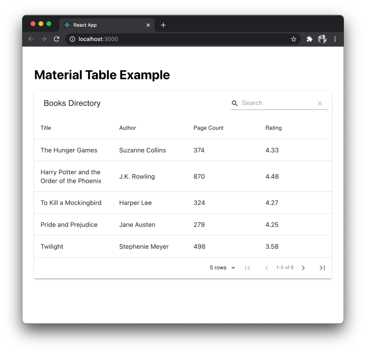 Search Bar Material-table