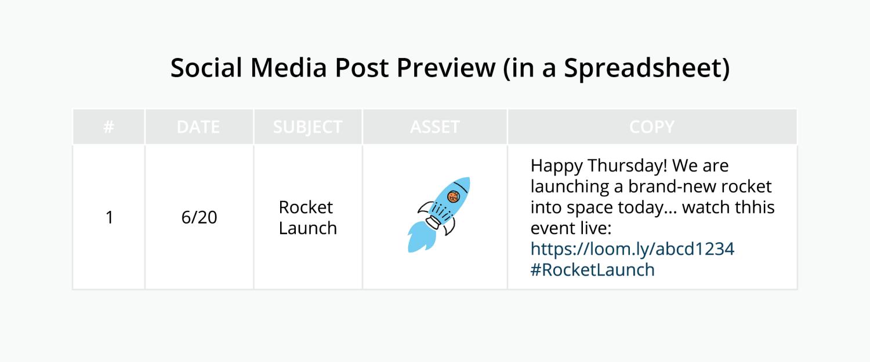 Social Media Calendar Post Preview Spreadsheet Mockup