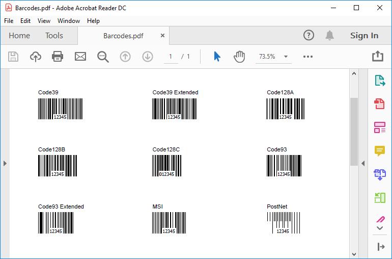 HotPDF Barcode Sample