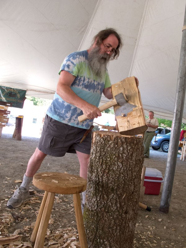Peter at work on some birch at the Lie-Nielsen Open House.