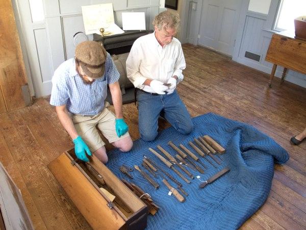 Joshua Klein and Thomas Lie-Nielsen examine Jonathan Fisher's turning tools.