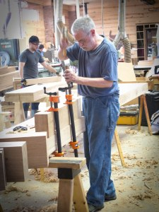 Wesley Tanner at work on his bench during the French Oak Roubo Project.