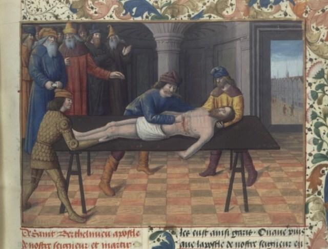 Martyrdom of St. Bartholomew, Fleur des histoires (BNF Fr. 57, fol. 39), second half of the 15th century