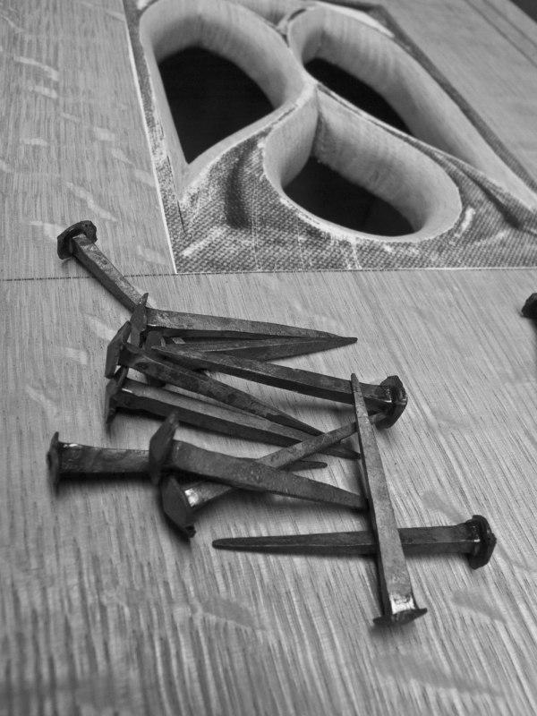 Blacksmith-made wrought nails.
