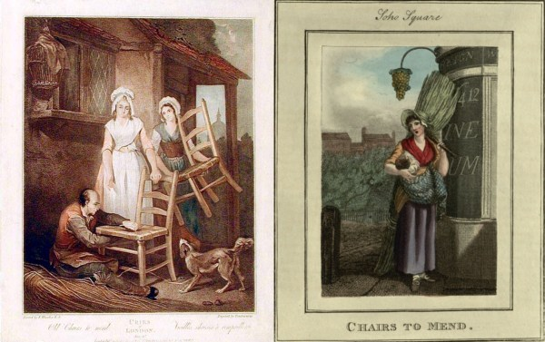 """Old Chairs to Mend"" from two ""Cries of London"" from (left) 1795 and (right) 1821, (British Library)."