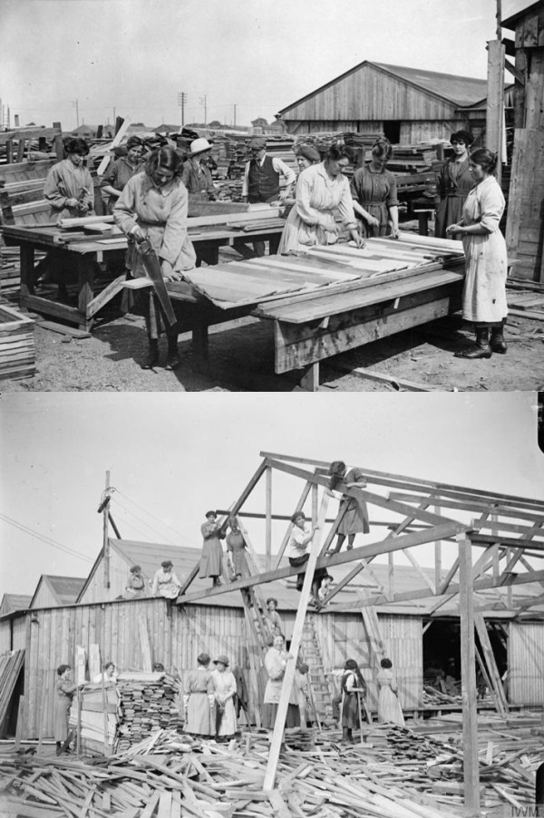 Women making huts for a war contractor near the front in Calais, France.