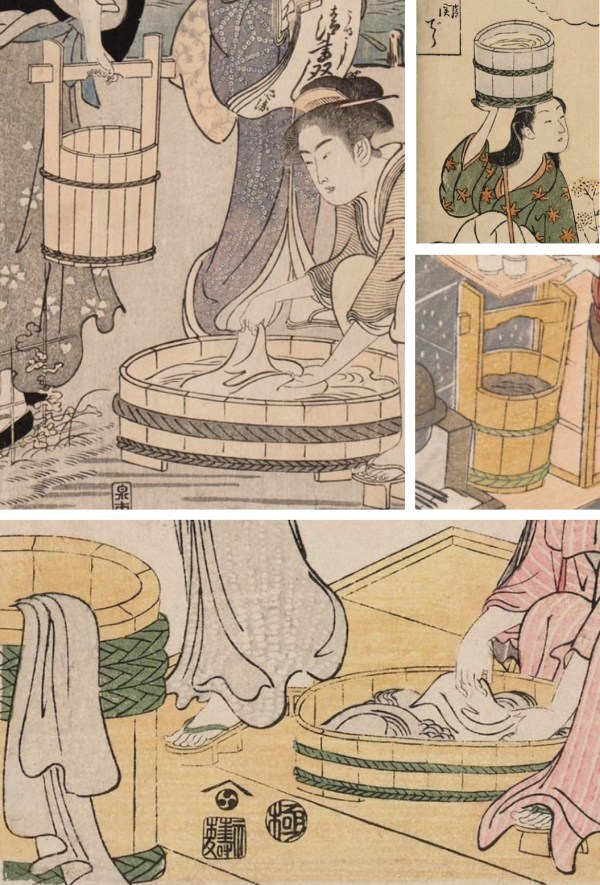 Selection of Japanese cooper's work taken from woodblock prints dated
