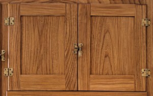 half-inset doors on a reproduction Hoosier cabinet