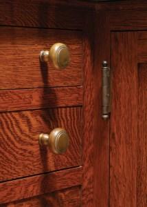 salvaged butt hinge on quartersawn oak cabinet