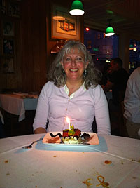 Lorraine celebrating a special birthday at Trattoria Contadina in North Beach, San Francisco, CA