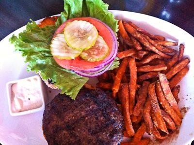 Hamburger at Godfather's Burger Lounge in Belmont