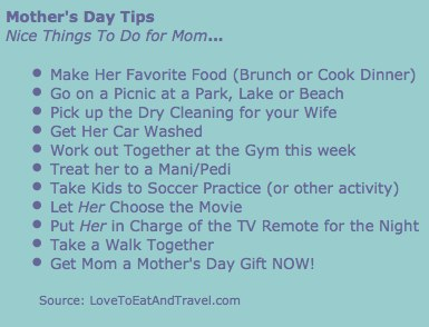 Mother's Day 2012 Tips - © LoveToEatAndTravel.com