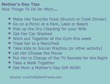Mother's Day 2012 Tips - © LoveToEatAndTravel.com