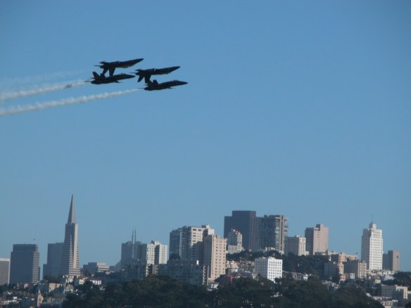 Blue Angels flying over San Francisco skyline during Fleet Week SF – © LoveToEatAndTravel.com