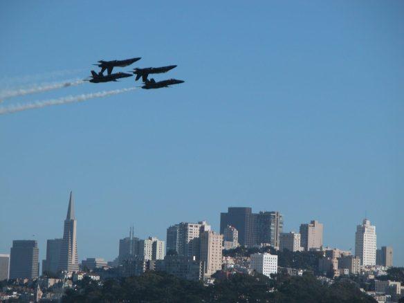Blue Angels flying over San Francisco skyline during Fleet Week SF – © LoveToEatAndTravel.com