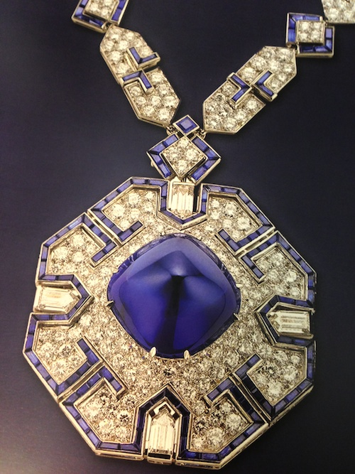 "Exquisite sapphire and diamond sautoir necklace from the Elizabeth Taylor Collection at ""The Art of Bulgari"" exhibit at the de Young Museum in San Francisco - Richard Burton gave this to Liz on her 40th birthday - © de Young Museum"