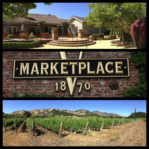 V Marketplace 1870 and Yountville vineyard, Napa Valley, CA - © LoveToEatAndTravel.com