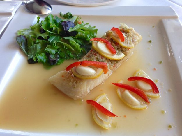 Steamed wild caught Chilean Sea Bass in lime chili and garlic dressing - © LoveToEatAndTravel.com