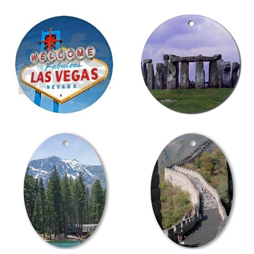 Las Vegas, Stonehenge, Lake Tahoe and the Great Wall of China Ornaments – © LoveToEatAndTravel.com