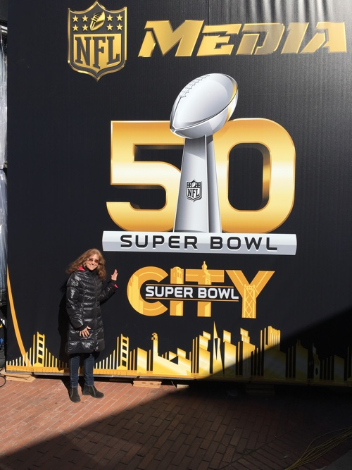 """Hi"" from Super Bowl City, San Francisco - © LoveToEatAndTravel.com"