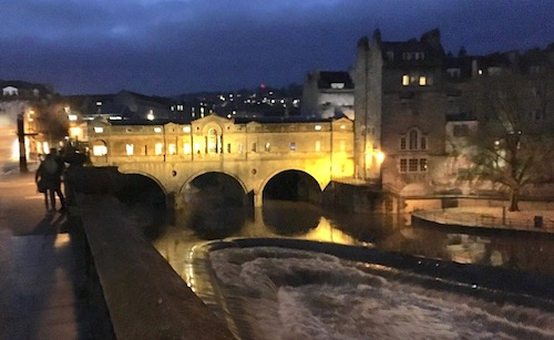 Pulteney Bridge illuminated at night, Bath, UK - photo © Love to Eat and Travel