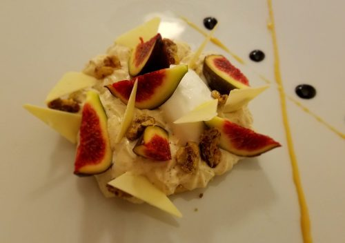 Le Carmin yogurt ice cream with fresh fig and cracked walnuts dessert - Photo Credit: Deborah Grossman