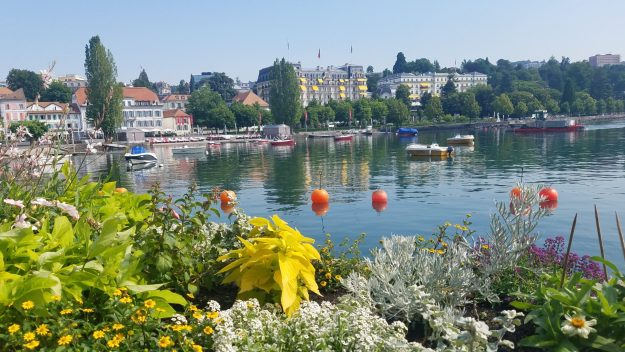 Lausanne old harbor with classic hotels - Credit: Deborah Grossman
