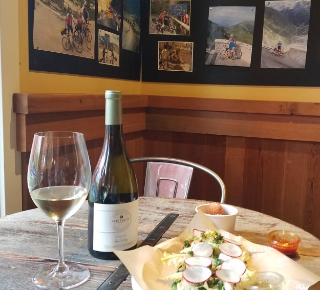 Clif Family Winery - Fresco bruschetta and bike decor - Credit: Deborah Grossman