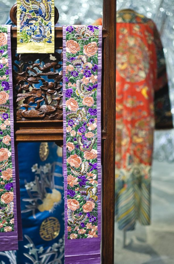Chinese textiles with butterfly and flower motif