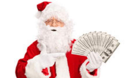 Santa with a bunch of cash