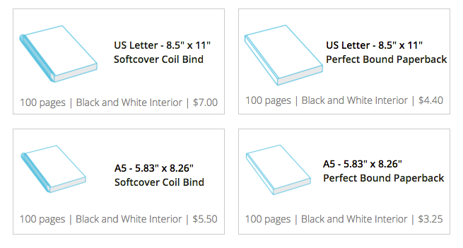 Our recommended sizes for creating a custom journal