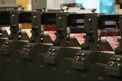 Printing presses lined up and running