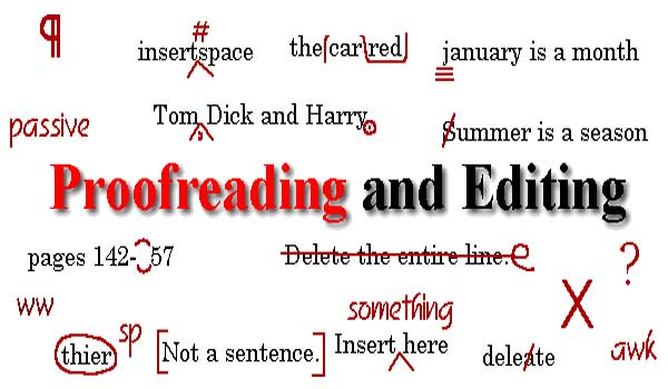 proofreading and editing word map