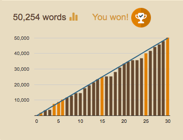 Winning at Nanowrimo!